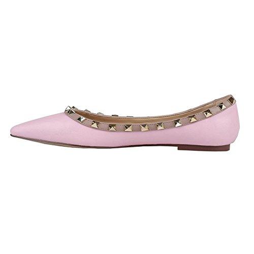 Vocosi Scarpe A Punta Per Donna, Moda Rivetti Borchie Comfort Ballerine Scarpe Rosa (opaco)