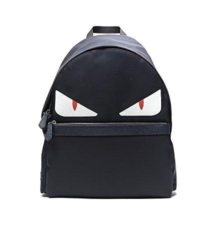 Wiberlux Fendi Men's Monster Eyes Leather Trimmed Backpack