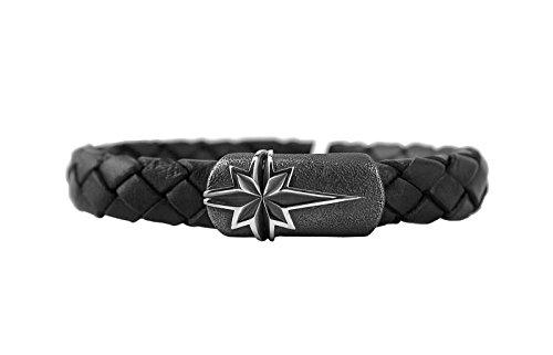 DAVID YURMAN STERLING SILVER & BLACK LEATHER North Star Bracelet 31B