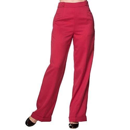 Vintage Pantalones Pernera Retro Cintura Rojo Apparel Baile 1940s Alta Ancha Banned Swing Días nqSfxnB