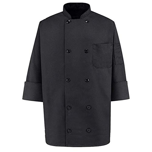 350 Chef Apparel  Pearl Buttons Chef Coat-Easy-Care Twill Chef Jacket for men,Black,XX-Large
