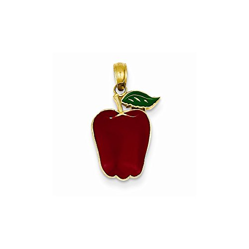 14k Yellow Gold Enameled Apple Pendant (Yellow Gold Enameled Apple)