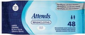 ATTENDS HEALTHCARE PRODUCTS 48WCCP1000 Attends Washcloth, Large - 8 x 12.5 in.