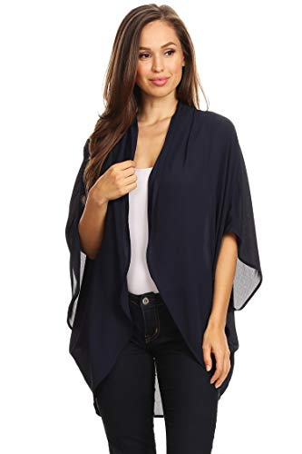Casual Solid Color Loose Fit Open Front Cardigan/Made in USA Navy 2XL