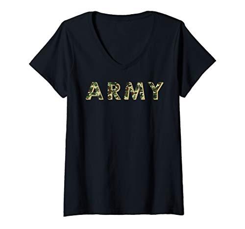 Womens Army ACU OCP Military Digital Camo Workout V-Neck T-Shirt