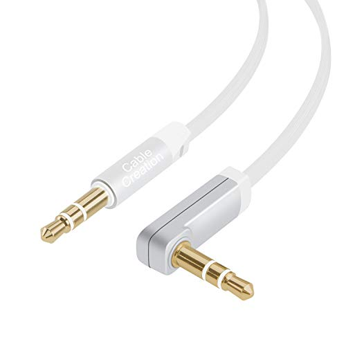 Aux Cable [10 Feet ], CableCreation 3.5mm Male to Male Audio Auxiliary Cable 90 Degree Right Angle Compatible with Car Stereos, iPod, iPhone, Sony Series, Beats and More,Silver and White
