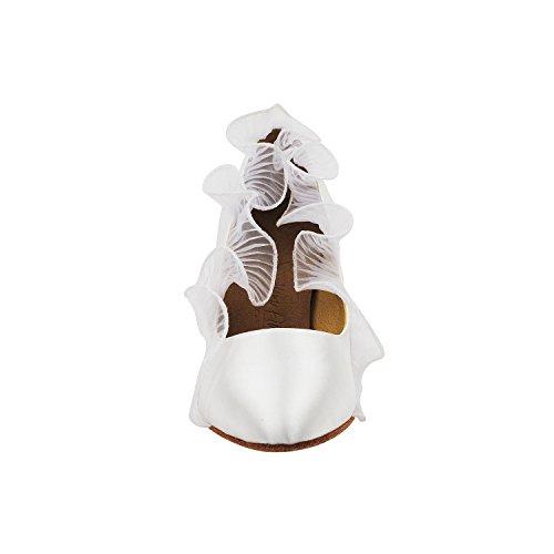 Scarpe Piccione Oro Partito Scarpe Da Sposa Partito, Scarpe Da Sera Comfort Pompe: Scarpe Da Ballo Tacco Donna 5517- Raso Bianco