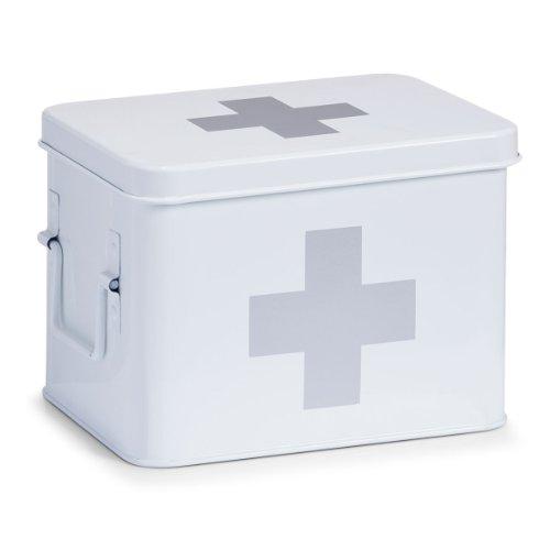 Zeller 18118 Medizin-box , Metall / M 21.5 x 16 x 16 cm, weiß