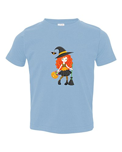 Witch Broom Pumpkin (Witch With Broom And Pumpkin Toddler Baby Kid T-Shirt Light Blue Tee 6 Mo - 7T -)