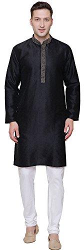 Jacquard Silk Embroidered Mens Kurta Pajama India Clothing (Black, L) Black Embroidered Pajamas