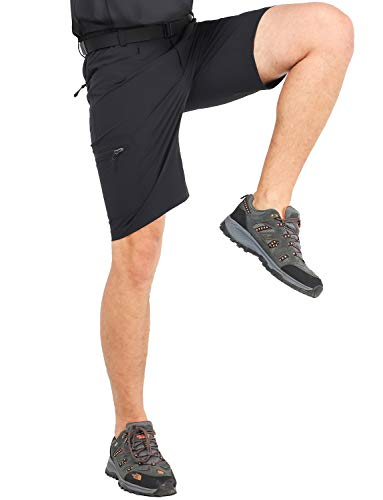 (MIER Men's Quick Dry Hiking Shorts Lightweight Cargo Shorts with 6 Pockets, Stretchy, Water Resistant, Black, 34)