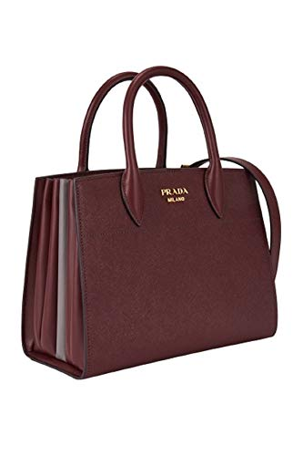 (Prada Bibliothèque Tote Saffiano City Leather Maroon and Gray Handbag 1BA049)