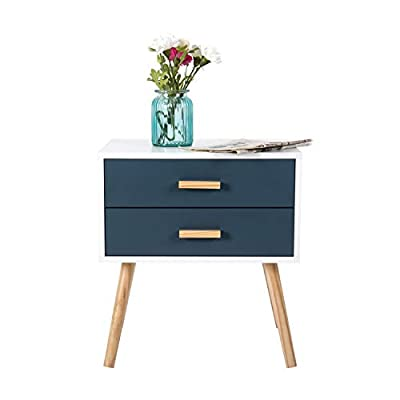 Kinbor Side End Table Nightstand Bedroom Living Room Table Cabinet with Drawer Storage Modern Nightstand Wood Furniture