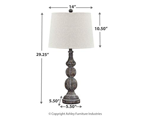 Signature Design by Ashley Mair Rustic Farmhouse Poly Table Lamp Set of 2, Gray
