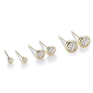 S.Leaf 3 Pairs Cubic Zirconia Earrings Sterling Silver Earrings for Women