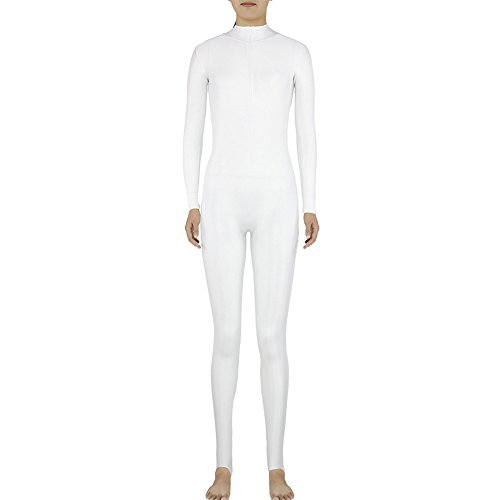 Muka Adult Zentai Spandex Polo Neck Unitard Supersuit Costume Dancewear WHITE-XXL (Morphsuit For Kids Cheap)