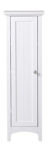 Kitchen Pantry Durable White Painted Raised Panel Vein Lined Door Brushed Aluminium Fnished Door Pull Door is Opened from the Right Side Tapered Front Rails and Arched Kick Panel by GAShop