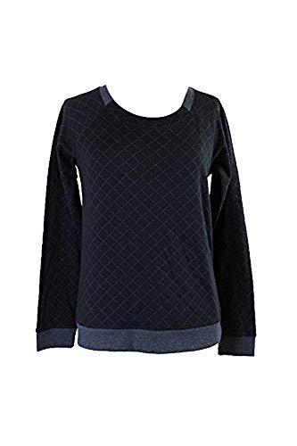 Alfani Womens Quilted Contrast Trim Sleep Shirt Black L