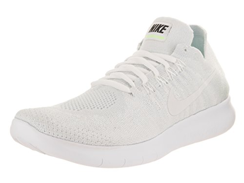 Nike Women's Free RN Flyknit 2017 White/White Pure Platinum Running Shoe 10 Women US by NIKE