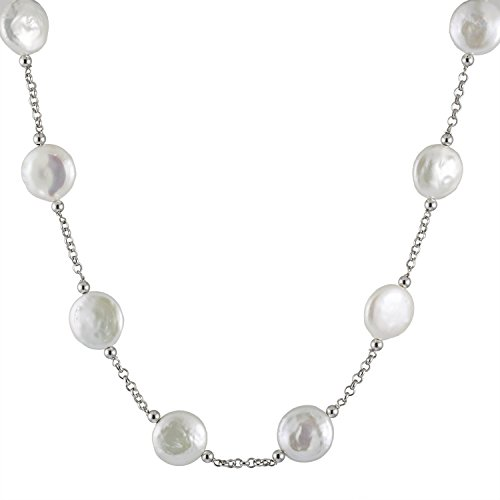 Tin Cup Station Sterling Silver 12-13mm Coin White Freshwater Cultured Pearl Necklace 18