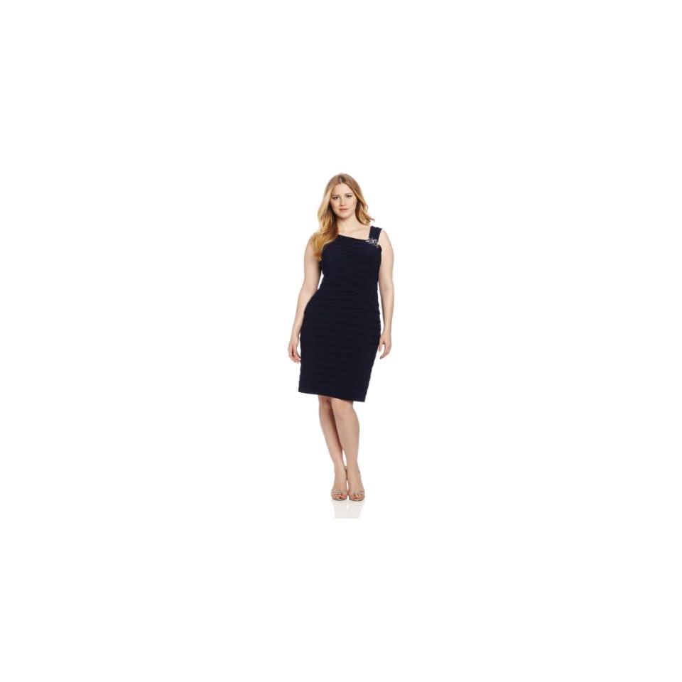 Jessica Howard Womens Plus Size Beaded Asymetrical Tuck Plus Dress, Navy, 14W