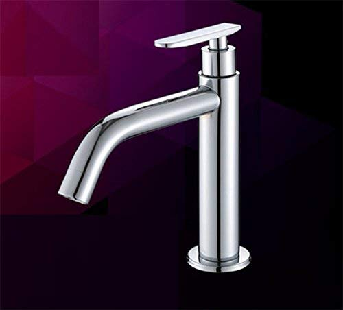 Oudan Washroom Sink Mixer Tap stainless steel Cold alone Increase high Sit Wash basin chrome Single handle Single hole