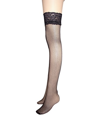 damas antideslizantes medias de red con ancho de encaje costura trasera encima de la rodilla medias de liga con rayas de silicona antideslizante 2 pares / Negro Rosa