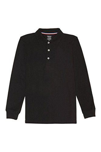 French Toast Big Boys' Long-Sleeve Pique Polo Shirt, Black, - Outlet Kids Polo