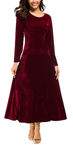 - Urban CoCo Women's Elegant Long Sleeve Ruched Velvet Stretchy Long Dress (XL, Wine red)