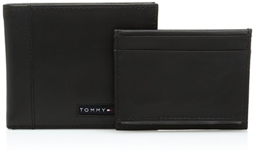 Tommy Hilfiger Men's Leather Wallet - Thin Sleek Casual Bifold with 6 Credit Card Pockets and Removable ID Window, Black Cambridge -