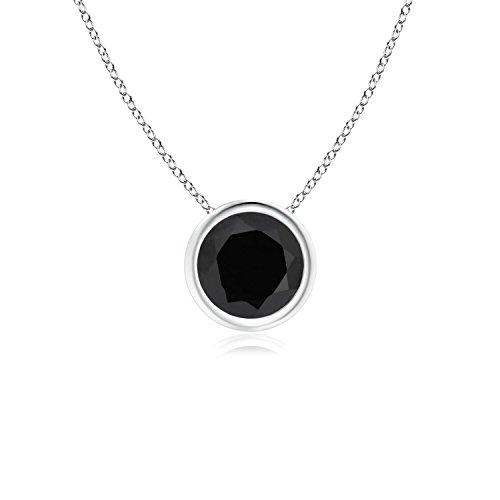 Bezel-Set Round Black Onyx Solitaire Pendant in Platinum (6mm Black - Platinum Onyx Necklace Black