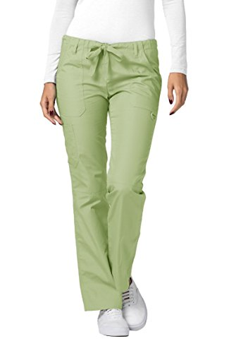 Adar Universal Womens Low-Rise Multipocket Drawstring Straight Leg Pants - 510 - Sage - XS Low Rise Elastic Waist Scrub
