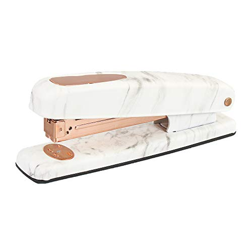 Marble Print Stapler Metal Rose Gold Desktop Manual Staplers 15 Sheets Capacity with Classic Modern Design and Non-Slip Base, Sleek Office School Desk Accessories Gift Idea (Marble White Style) ()