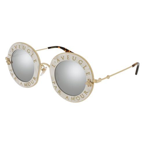 Sunglasses Gucci GG 0113 S- 003 WHITE / SILVER GOLD