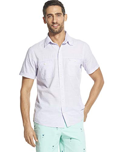 (IZOD Men's Big and Tall Saltwater Dockside Chambray Short Sleeve Button Down Solid Shirt, Violet Tulip, 4X-Large)