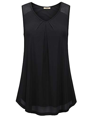 - Timeson Black Sleeveless Blouse, Women's Sleeveless V Neck Tank Top Layers Loose Fit Camisole for Junior Casual A Line Loose Tunic Elegant Pleated Career Shirt for Summer Black X-Large