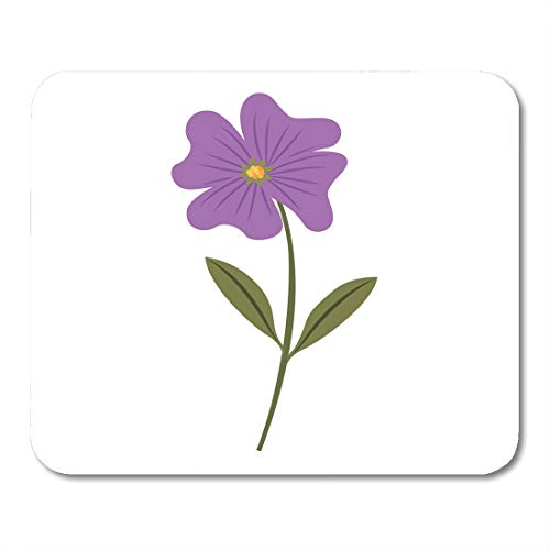 Boszina Mouse Pads Botany Beautiful Cute Flower Periwinkle Petals Leaves Stem Blossom Bouquet Mouse Pad 9.5