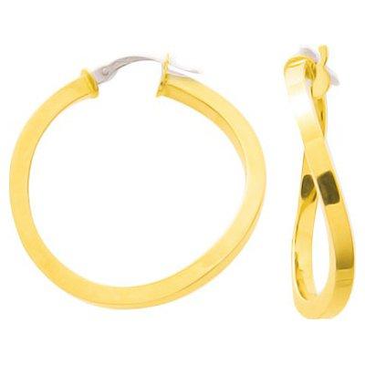 So Chic Bijoux © Boucles d'oreilles Femme Créoles Torsade Vague Diamètre 22 mm Fil Carré Or Jaune 750/000 (18 carats)