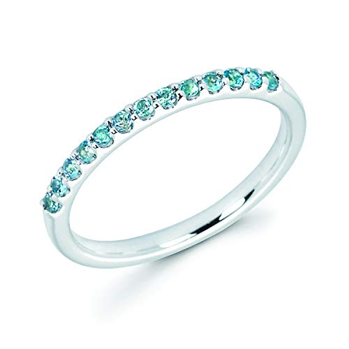 - 14K White Gold 1/4 Cttw Genuine Blue Topaz Stackable 2MM Wedding Anniversary Band Ring - December Birthstone, Size 7