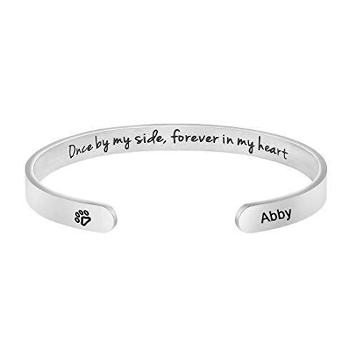 Awegift Pet Sympathy Gifts for Dogs Memorial Jewelry Sympathy Gift for Loss of Pet Name Engraved Cuff Bracelet (Abby)