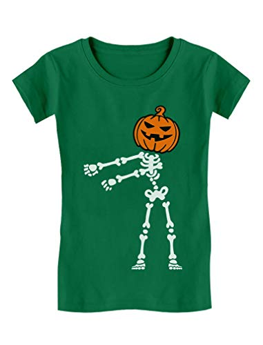 Halloween Floss Dance Jack O Lantern Pumpkin Skeleton Girls' Fitted Kids T-Shirt L (9-10) Green