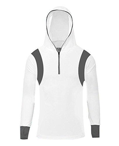 White Hood Clothing (Geval Men's Bamboo Fiber Long Sleeve Fishing Shirts UV Sunscreen Cloth With Hood(White, US S, Label M))