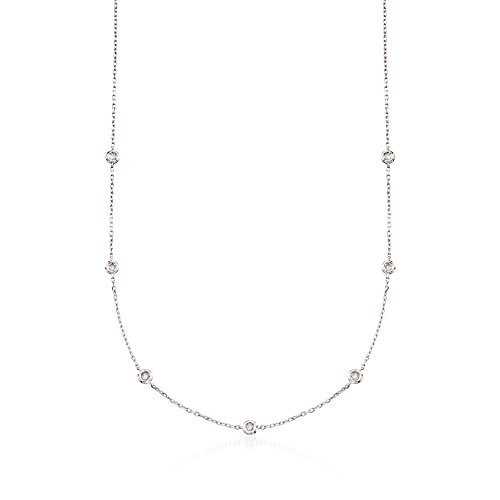 Ct Necklace Fashion 1/5 Diamond - Ross-Simons 0.20 ct. t.w. Diamond Station Necklace in Sterling Silver