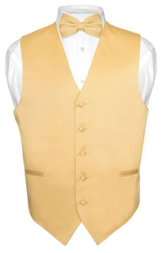 Men's Dress Vest & Bowtie Solid Gold Color Bow Tie Set for Suit or Tuxedo Small