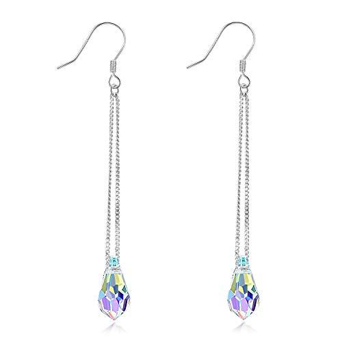 AOBOCO 925 Sterling Silver Teardrop Long Dangle Drop Earrings - Aurora Borealis Crystals from Swarovski - Fine Jewelry Earrings Gifts for Women Girls ()