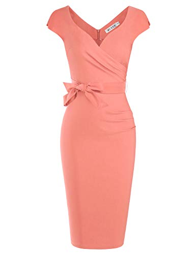 MUXXN Pink Summer Pencil Dresses with Sleeves Wedding Party Belt Cute Ruched Dress for Women (Peach XXL)