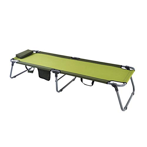 Portable Camping Cot, Foldable Bed Indoor and Outdoor Use, Ultra Lightweight, Heavy Duty Design - Green Capacity 247 lbs