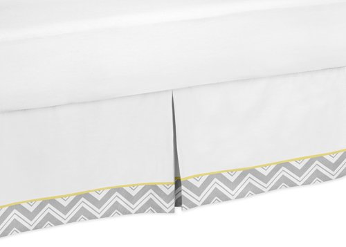 Sweet Jojo Designs Yellow and Gray Chevron Zig Zag Bed Skirt for Toddler Bedding Sets by Sweet Jojo Designs