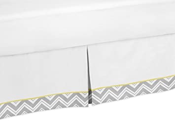 Amazon Com Yellow And Gray Chevron Zig Zag Bed Skirt For Toddler Bedding Sets By Sweet Jojo Designs Baby Grey Blanket