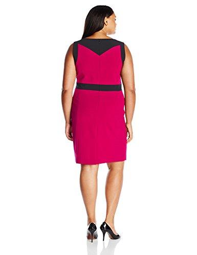 Nine West Women's Plus Size Color Block Sheath Dress (1), Ruby Pink/Black, 14W